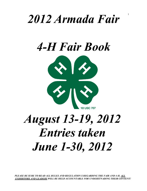 2012 Armada Fair 4-H Book
