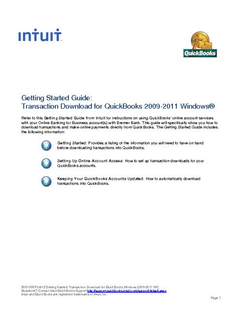 Intuit Getting Started Guide - QuickBooks Windows 2009-2011