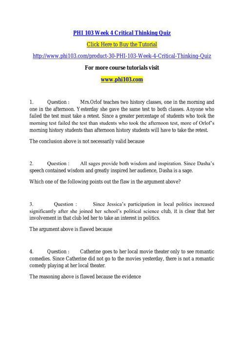 PHI 103 Week 4 Critical Thinking Quiz
