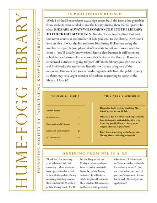 HFA library news 9-03-2011