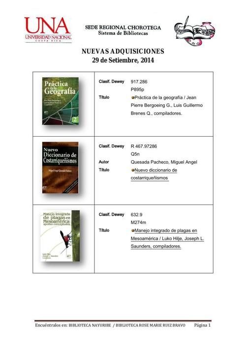 Nuevas Adquisiciones 29-09-2014