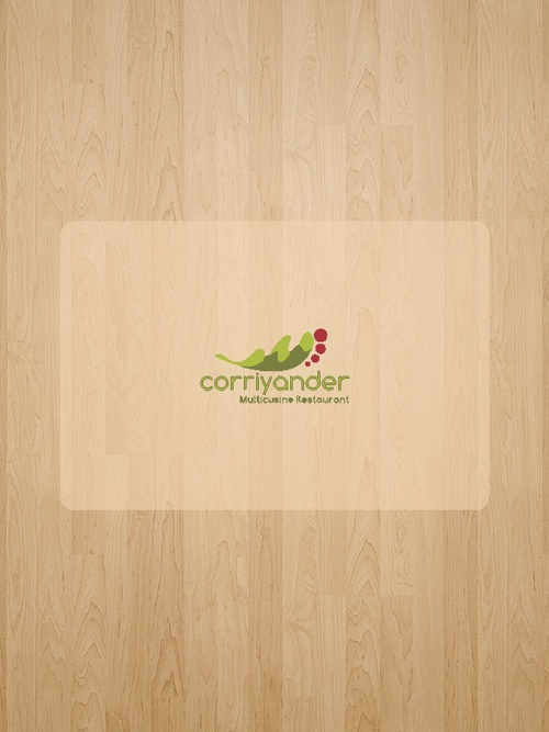 Corriander Menu card
