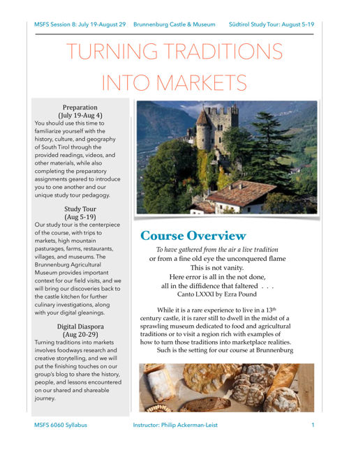 Traditions into Markets: Study Tour at Brunnenburg Castle
