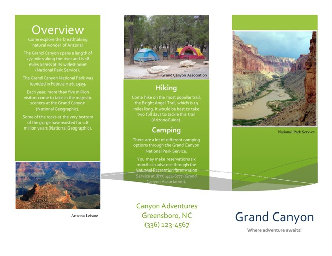 Travel Brochure for Grand Canyon