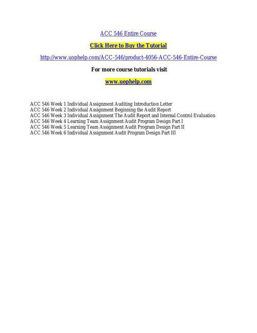 ACC 546 ACADEMIC COACH / UOPHELP