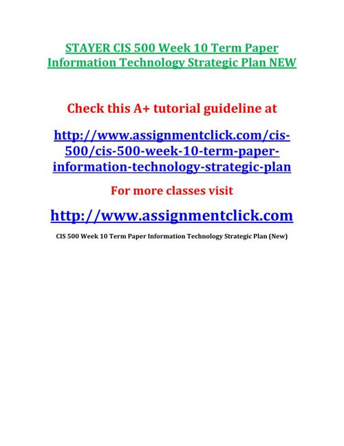 STAYER CIS 500 Week 10 Term Paper Information Technology Strateg