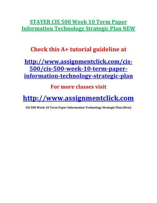 STAYER CIS 500 Week 10 Term Paper Information Technology Strateg