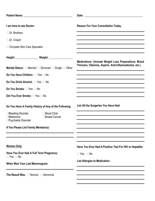 New Patient Forms for Plastic Surgery Centre of Atlanta