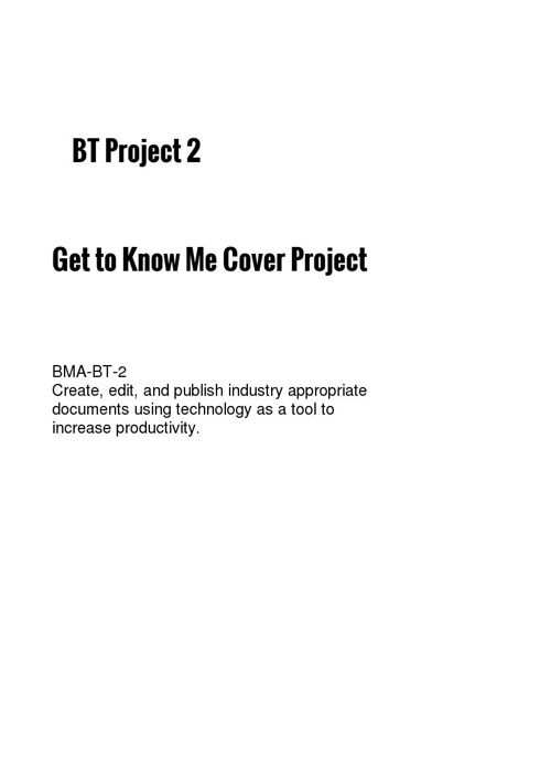 BT Project 2 Get to Know Me Cover Project