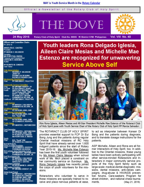 RC Holy Spirit  THE DOVE  Vol. VIII No. 40 May 24, 2016