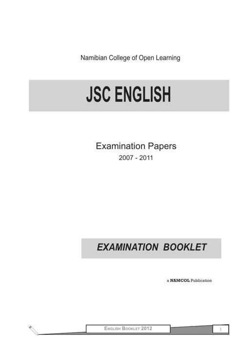 JSC English 2nd Language Examination Booklet (2007 - 2011)