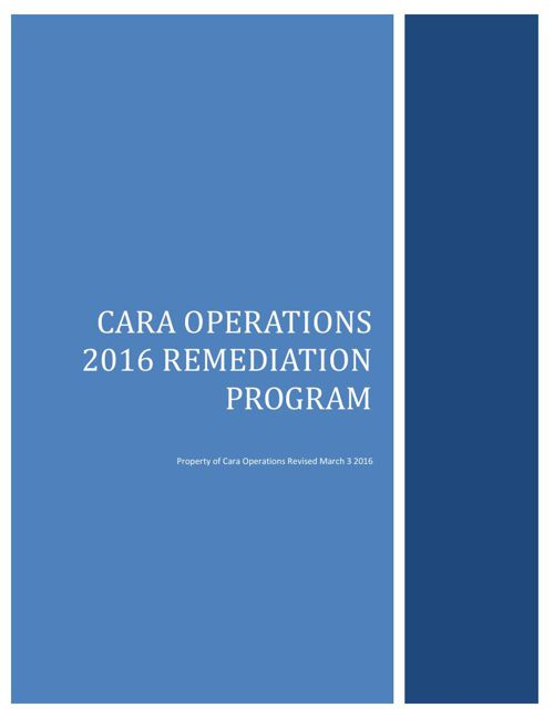 Cara 2016 Remediation Program Binder