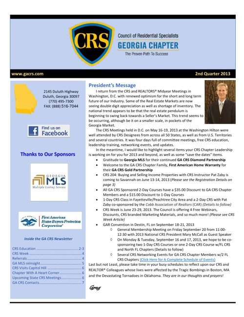 CRS 2nd Quarter 2013 Newsletter