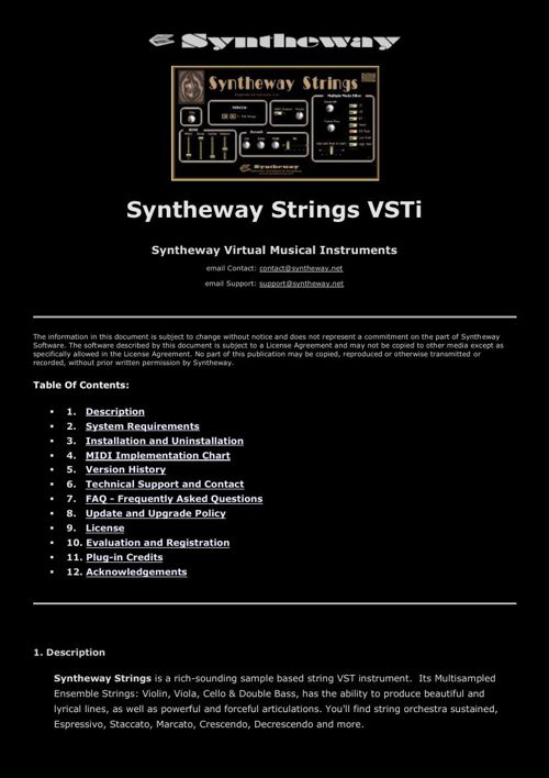 Syntheway Strings Ensemble VSTi Cello, Violin, Viola, Contrabass