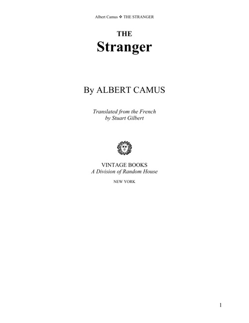 Albert Camus - The Stranger