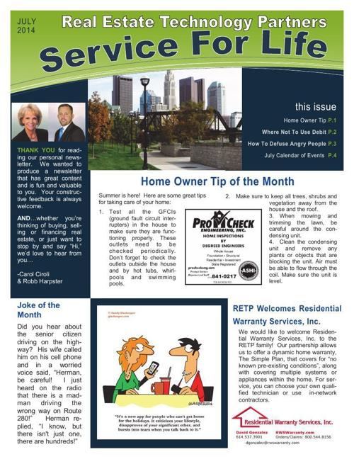 RETP Newsletter, July Issue