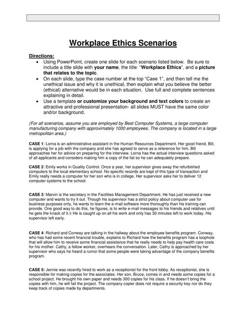 Workplace Code of Ethics