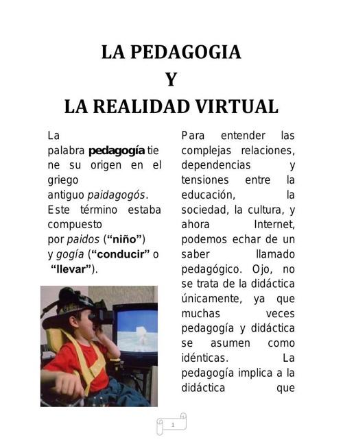 LA PEDAGOGIA Y LA REALIDAD VIRTUAL