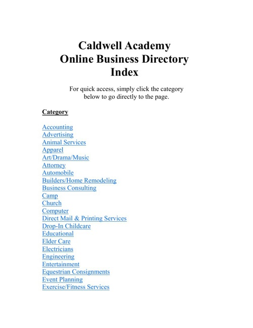 Caldwell Business Directory 2013-14