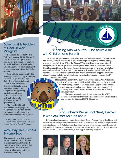 Waterford School District Winter 2017 Newsletter