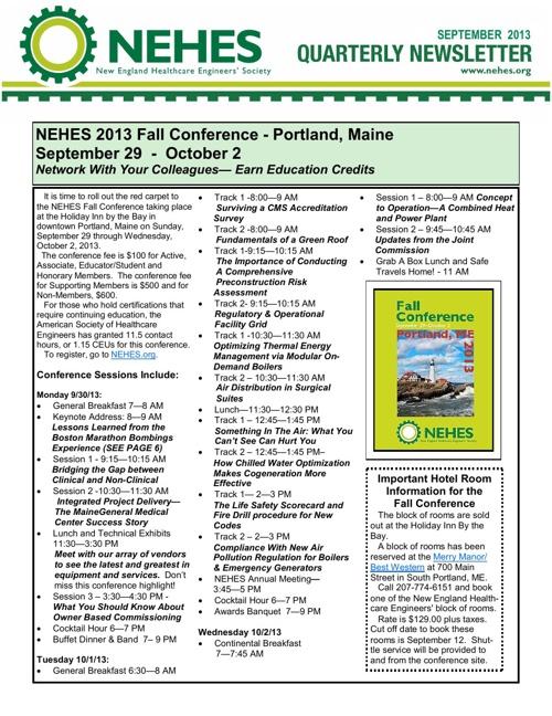 NEHES September Newsletter - 2013