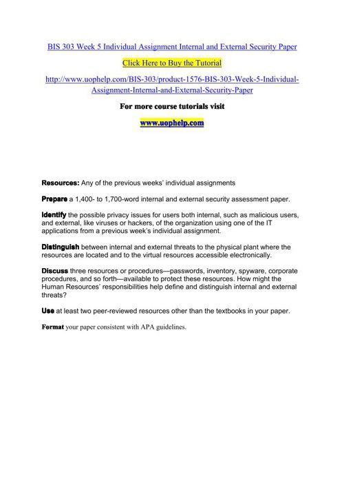 BIS 303 Week 5 Individual Assignment Internal and External Secur