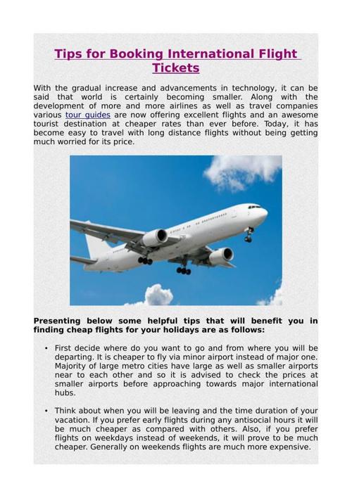 Tips for Booking International Flight Tickets