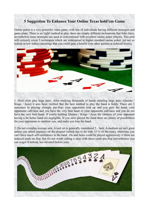 5 Suggestion To Enhance Your Online Texas hold'em Game