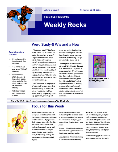 Weekly Rocks:  Room One's Newsletters