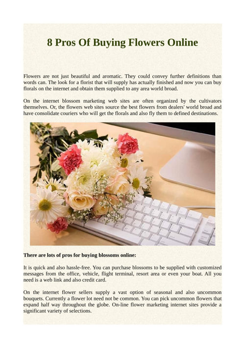8 Pros Of Buying Flowers Online