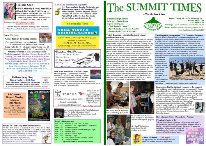 Week 5B Term 1 Summit Times 2017