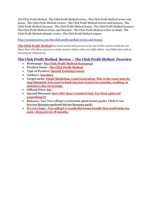 The Click Profit Method Review – (Truth) of The Click Profit Met