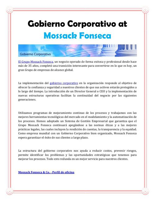 Gobierno Corporativo at Mossack Fonseca