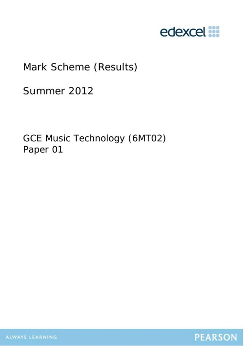 2012 6MT02 AS Listening Paper Mark Scheme