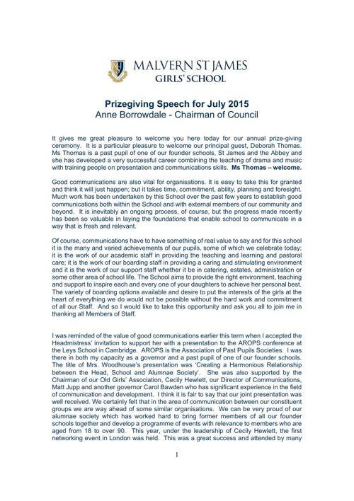 Anne Borrowdale Prizegiving Speech July 2015