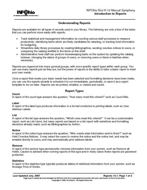 15 Report Basics