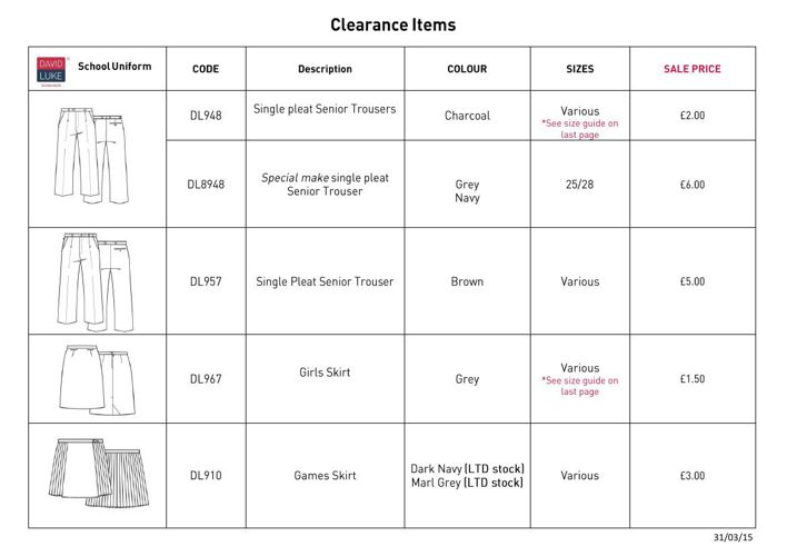 Clearance Items 31/03/15