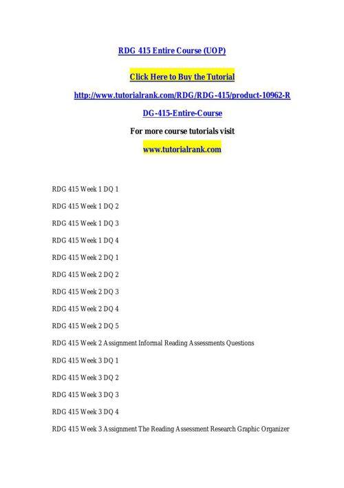 RDG 415 Potential Instructors / tutorialrank.com