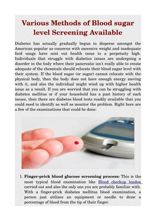 Various Methods of Blood sugar level Screening Available