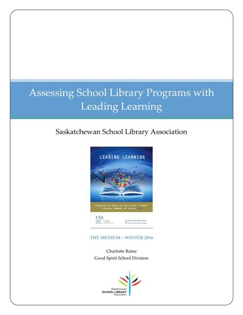 Assessing School Library Programs with Leading Learning