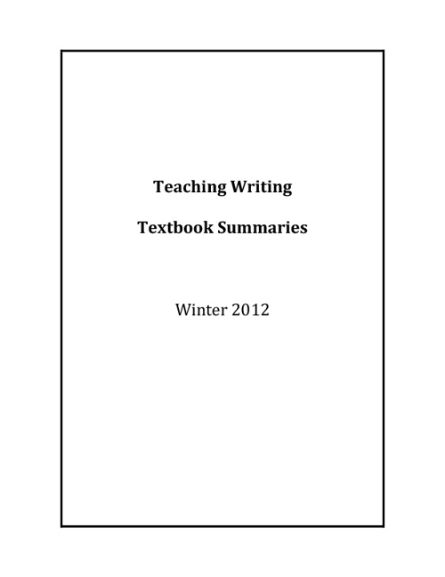 Teaching Writing Winter 2012 Textbook Reviews