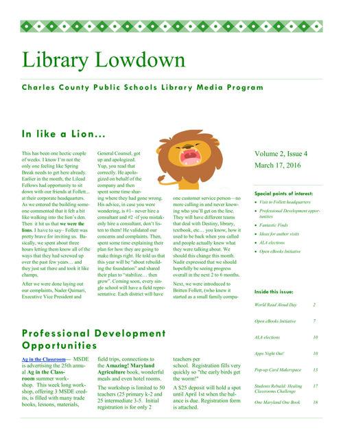 Library Lowdown sample