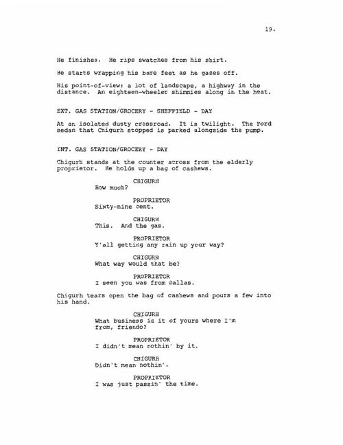No Country For Old Men script extract