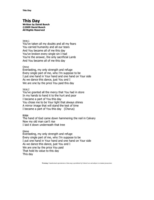 David Bunch Music Lyrics