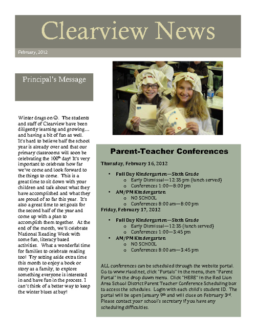 February 2012 Clearview Newsletter
