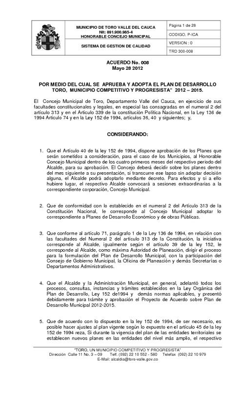 PLAN DE DESARROLLO 2012 - 2015