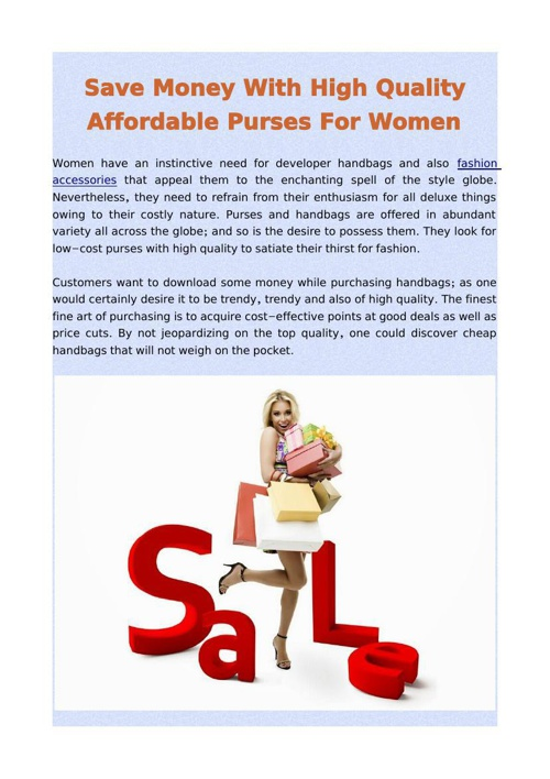 Save Money With High Quality Affordable Purses For Women