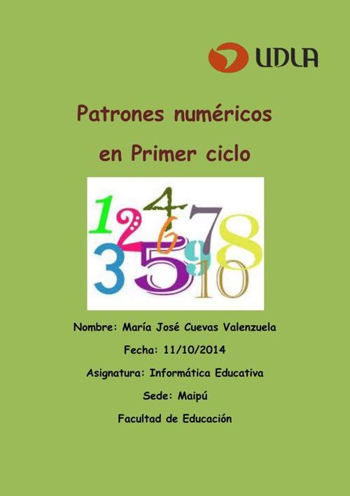 """Libro de actividades con uso de TIC sobre """"Patrones numéricos pr"""