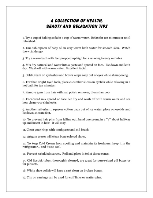 Collection of Health, Beauty and Relaxation Tips