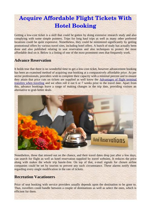 Acquire Affordable Flight Tickets With Hotel Booking